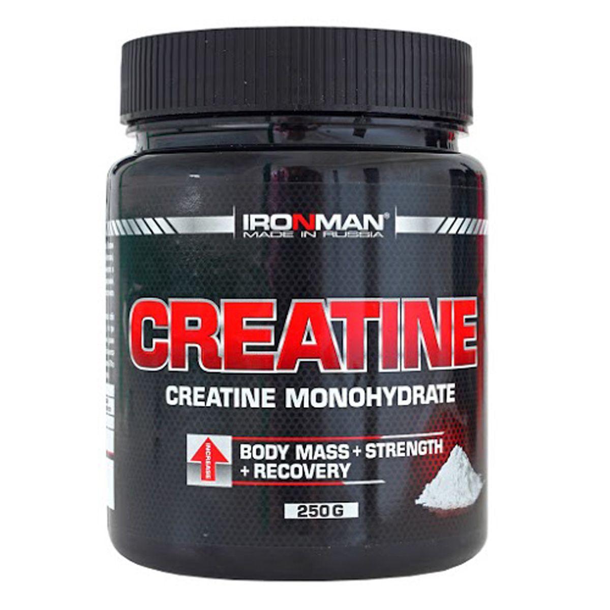 Ironman Креатин, 250 г4650069821151Креатин Моногидрат - это одна из самых популярных пищевых добавок для спортсменов. Исследования показали, что при употреблении моногидрата креатина наблюдается повышение уровня предельных нагрузок, увеличение силы и выносливости. Это объясняется способностью моногидрата креатина поддерживать высокий уровень АТФ в клетках, при одновременном снижении концентрации аммиака в крови. В продуктах серии IRONMAN используется особо чистый моногидрат креатина марки CreaPure, полностью свободный от вредных примесей креатинина, дициандиамида и др. Состав: Моногидрат креатина 5 г