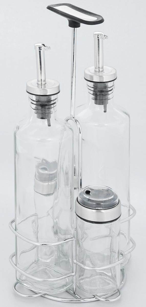 Набор ёмкостей для специй Nadoba Petra, 5 предметов741015Набор Nadoba Petra состоит из 2 бутылок для уксуса/масла, солонки, перечницы и подставки. Емкости выполнены из прозрачного ударопрочного стекла и снабжены герметичными крышками. Для хранения емкостей предусмотрена подставка, изготовленная из хромированной стали, с прорезиненной ручкой. Такой набор поможет хранить под рукой самые часто используемые специи. Изделия можно мыть в посудомоечной машине. Объем емкостей для уксуса/масла: 350 мл. Высота емкостей для уксуса/масла: 26 см. Объем емкостей для солонки/перечницы: 80 мл. Размер емкостей для солонки/перечницы: 4 х 4 х 10 см. Размер подставки: 14,5 х 13,5 х 30 см.