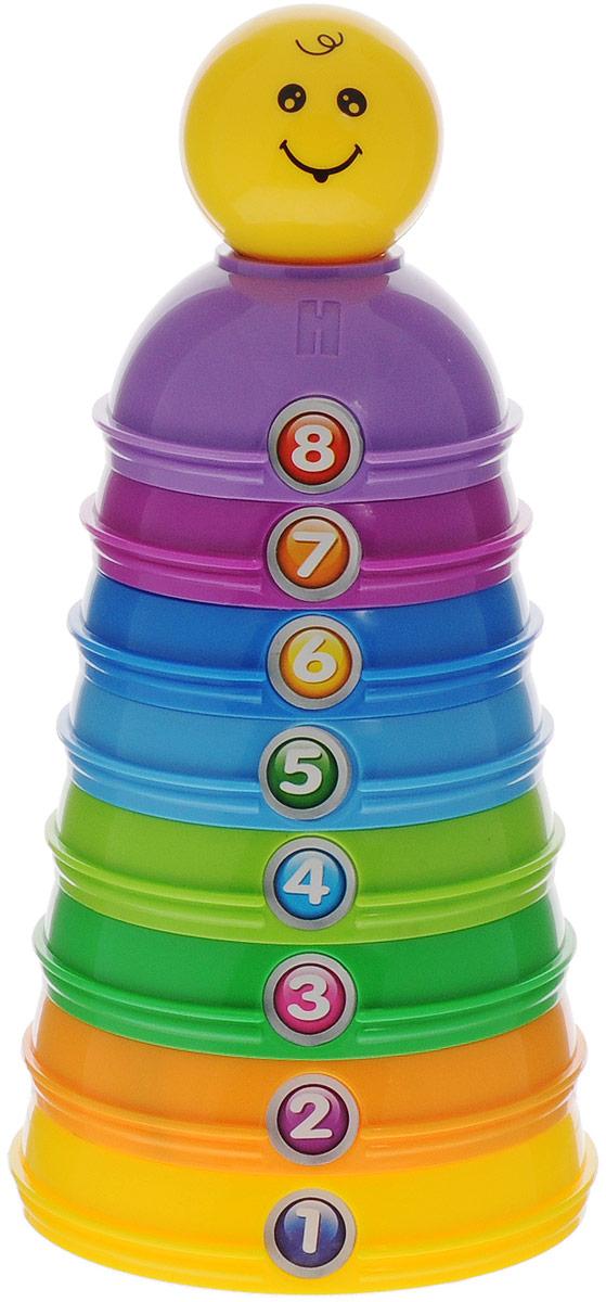 ABtoys Пирамидка-конструктор развивающаяPT-00290Научите вашего малыша складывать пирамидку различными способами. С разноцветной пирамидкой-конструктором ABtoys кроха узнает о цветах и формах. Все уровни пирамидки пронумерованы, малыш легко сможет запомнить ту или иную цифру, научится считать. Благодаря уникальному дизайну, элементы пирамидки можно соединить во вращающиеся шары, можно вложить элементы разного размера друг в друга или соединить их произвольно для создания собственной формы. Одним из элементов пирамидки является шарик с забавной рожицей, содержащий погремушку. Собирая пирамидку-конструктор, ребенок развивает тактильные навыки, мелкую моторику, координацию движения рук, память.