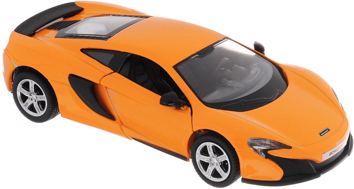 Uni-Fortune Toys Модель автомобиля McLaren 650S554992Модель автомобиля Uni-Fortune Toys McLaren 650S создана для тех, кто любит роскошь и высокие скорости. Благодаря броской внешности, а также великолепной точности, с которой создатели этой масштабной модели передали внешний вид настоящего автомобиля, машинка станет подлинным украшением любой коллекции авто. Машинка будет долго служить своему владельцу благодаря металлическому корпусу с элементами из пластика. Двери машины открываются. Модель оснащена инерционным ходом. Машинку необходимо отвести назад, слегка надавив на крышу, затем отпустить - и игрушка быстро поедет вперед. Шины обеспечивают отличное сцепление с любой поверхностью пола. Модель автомобиля McLaren 650S понравится вашему ребенку и станет достойным экспонатом любой коллекции.