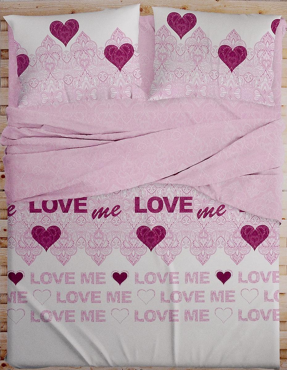 Комплект белья Love Me, 2-спальный, наволочки 50х70, 70х70. 198852198852Комплект белья Love Me состоит из пододеяльника, простыни и четырех наволочек. Изделия выполнены из перкаля. Это настоящая роскошь для любителей понежиться в постели. Перкаль изготавливается только из самого лучшего египетского хлопка. Его нити тонкие и длинные, благодаря чему ткань из него очень плотная и прочная. Перкаль по праву считается самой износостойкой тканью для постельного белья, однако ценят его, прежде всего, за потрясающие тактильные ощущения, сравнимые с прикосновением к лепестку розы. В процессе изготовления ткань проходит дополнительную многоступенчатую обработку и становится такой нежной, что просто ласкает кожу.