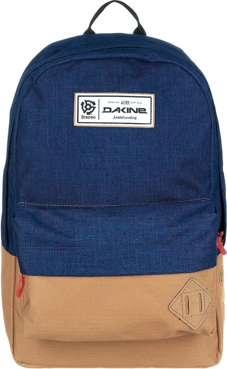 Рюкзак городской Dakine 365 Pack, цвет: темно-синий, светло-коричневый, 21 л00108315 8130085Городской рюкзак Dakine 365 Pack выполнен из высококачественного полиэстера, имеет вместительное основное отделение, в которое с легкостью помещается папка формата A4. В рюкзаке имеется встроенное усиленное отделение для ноутбука и является отличным вариантом для учебы и отдыха! Вместительный карман органайзер с внутренним кармашком для телефона, фронтальный карман на молнии, два боковых кармана для напитков или мелочей - максимальная функциональность. Идеально подходит для ежедневных прогулок и приключений.