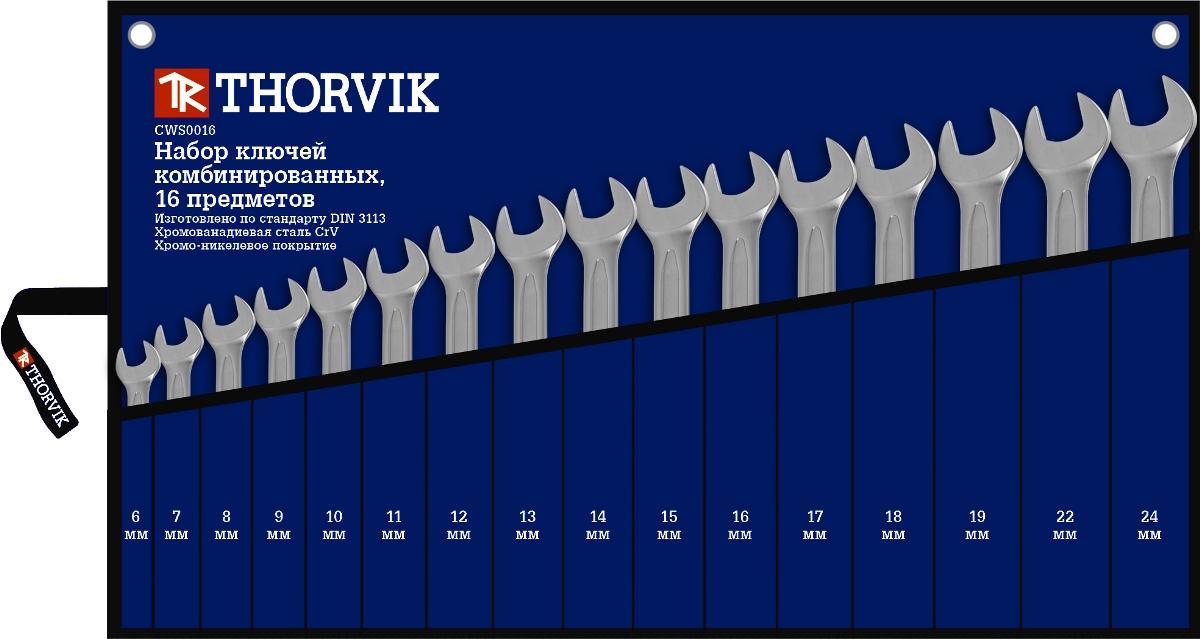 Набор ключей комбинированных в сумке Thorvik 6-24 мм, 16 предметовCWS0016Состав набора 16 предметов 6,7,8,9,10,11,12,13,14,15,16,17,18,19,22,24 мм сумка