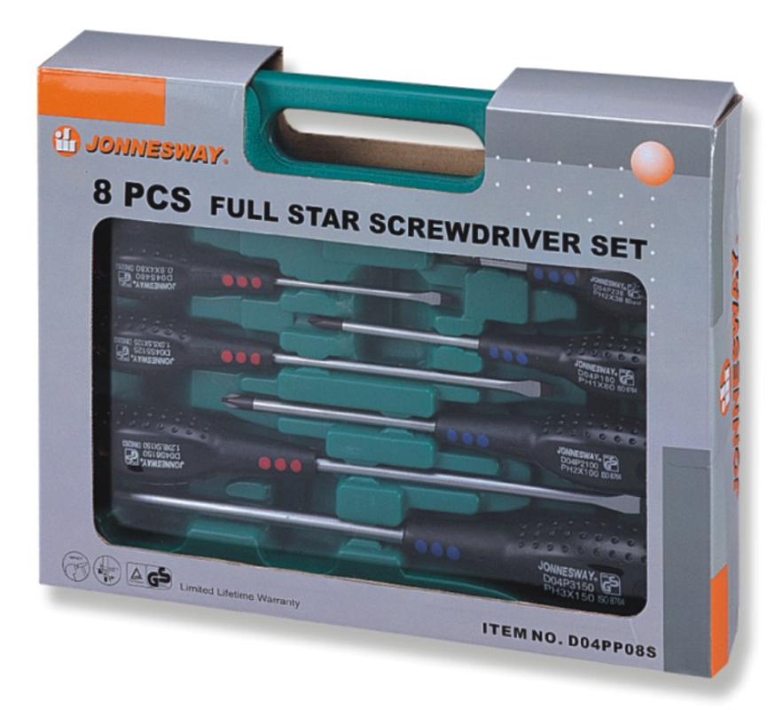 """Набор отверток Jonnesway шлиц и крест """" FULL STAR"""" SL 6,5х38-6,5х150 PH#1-3, 8 предметов D04PP08S"""