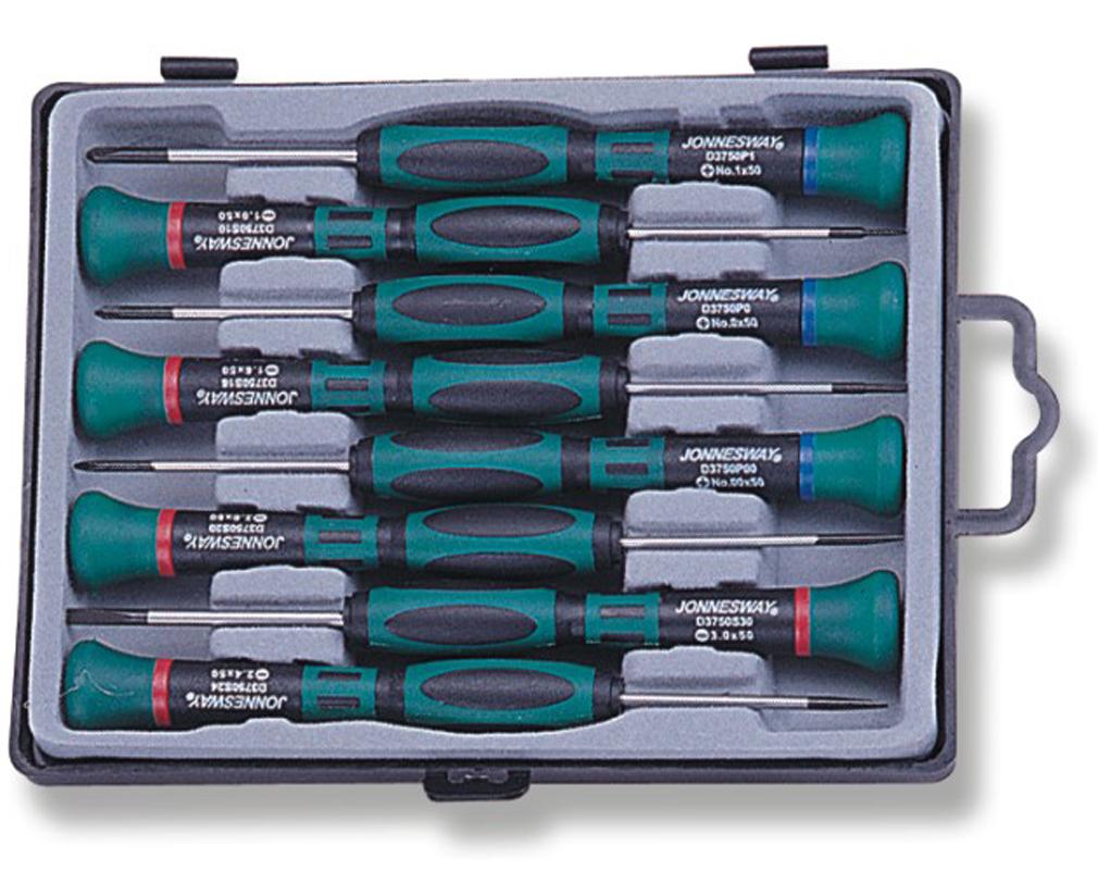 Набор отверток для точной механики Jonnesway 50 мм шлиц 1.0-3.0 и крест PH#0.00-1, 8 предметов