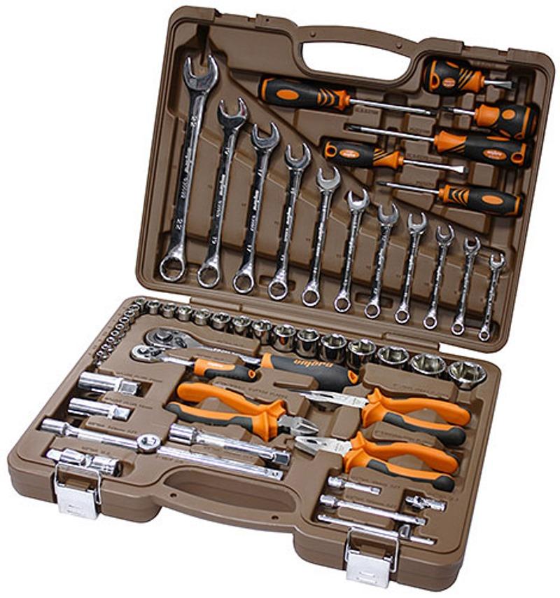 Универсальный набор инструмента Ombra торцевые головки 1/4, 1/2DR 4-32 мм, аксессуары к ним, комбинированные ключи 8-22 мм, отвертки, 55 предметов