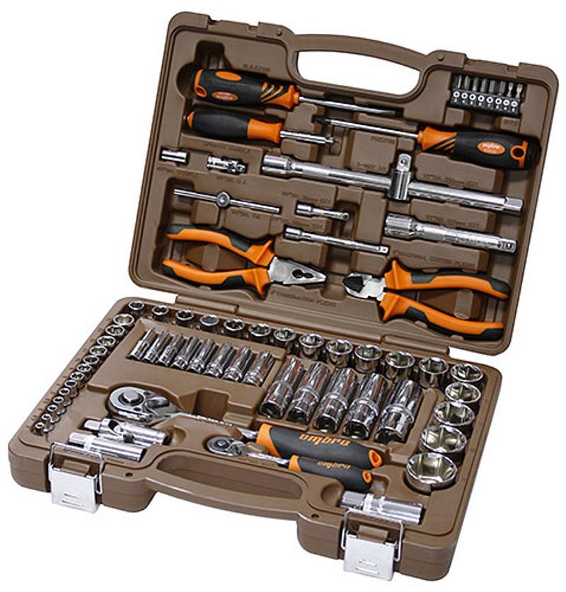 Универсальный набор инструмента Ombra: торцевые головки 1/4, 1/2DR 4-32 мм, аксессуары к ним, отвертки, 69 предметов