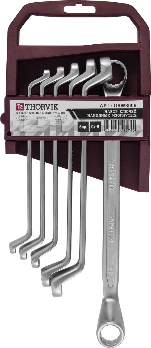 Набор ключей накидных 75° на пластиковом держателе Thorvik 6-19 мм, 6 предметовORWS006Состав набора 6 предметов 6x7,8x9,10x11,12x13,14x15,17x19 мм пластиковый держатель