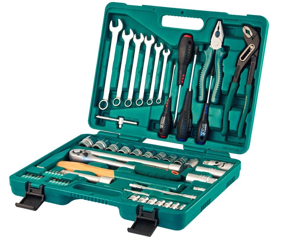 """Универсальный набор торцевых головок Jonnesway 1/4""""DR 6-13 мм и 1/2""""DR 12-24 мм, комбинированных ключей 8-17 мм и отверток, 60 предметов"""