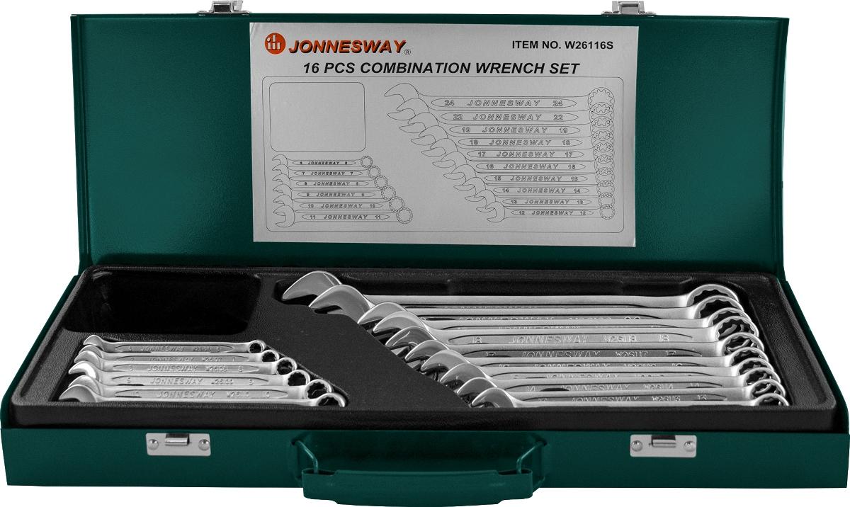 Набор ключей комбинированных Jonnesway 6-24 мм, 16 предметов