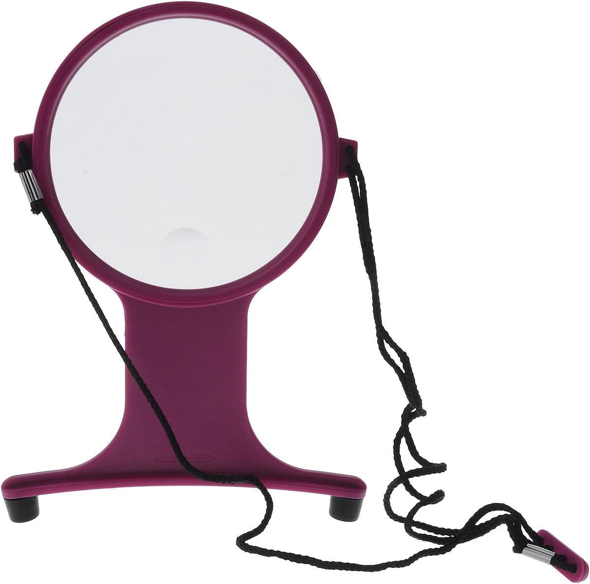 Лупа для вышивания Hemline, цвет: пурпурный, прозрачный988_пурпурныйЛупа для вышивания Hemline оснащена текстильной веревкой, которая позволит регулировать расстояние, тем самым фокусировать изображение, а также поворотной линзой и встроенной дополнительной линзой с восьмикратным увеличением. Изделие выполнено из пластика и имеет резиновые ножки. Такая лупа идеальна для ручной работы, поделок и при чтении. Диаметр линзы: 10,5 см. Увеличение: пятикратное (х5).