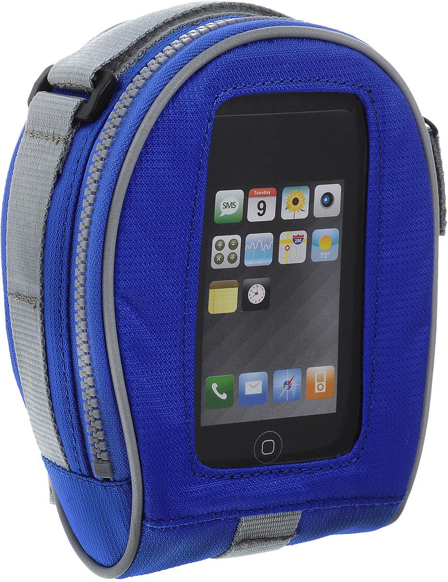 Сумка на руль BiKase SALamander, с чехлом для смартфона, цвет: синий, серый, 17 х 13 х 7,5 смAG005Сумка BiKase SALamander выполнена из высококачественного прочного текстиля. Изделие крепится на любую часть рамы или вынос при помощи съемных крепежных ремней. Сумка оснащена одним вместительным отделением, закрывающимся на застежку-молнию. Спереди расположен карман-чехол для смартфона. Подходит для телефонов Samsung Galaxy3 и меньше.