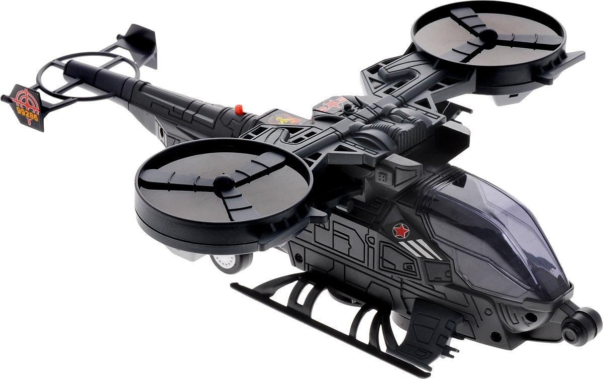ABtoys Вертолет боевойC-00124Если ваш малыш увлекается воздушными видами транспорта, то футуристичный боевой вертолет ABtoys обязательно придется по душе вашему ребенку. Он выполнен из высококачественного пластика и имеет весьма привлекательный дизайн. При включении игрушка будет издавать звуки, как настоящий вертолет, а также мигать лампочками в кабине и лопастях! Помимо этого, он будет чередовать круговые движения со взлетом, немного приподнимаясь над поверхностью. Порадуйте свою непоседу таким подарком! Для работы игрушки необходимы 3 батарейки типа АА напряжением 1,5V (не входят в комплект).