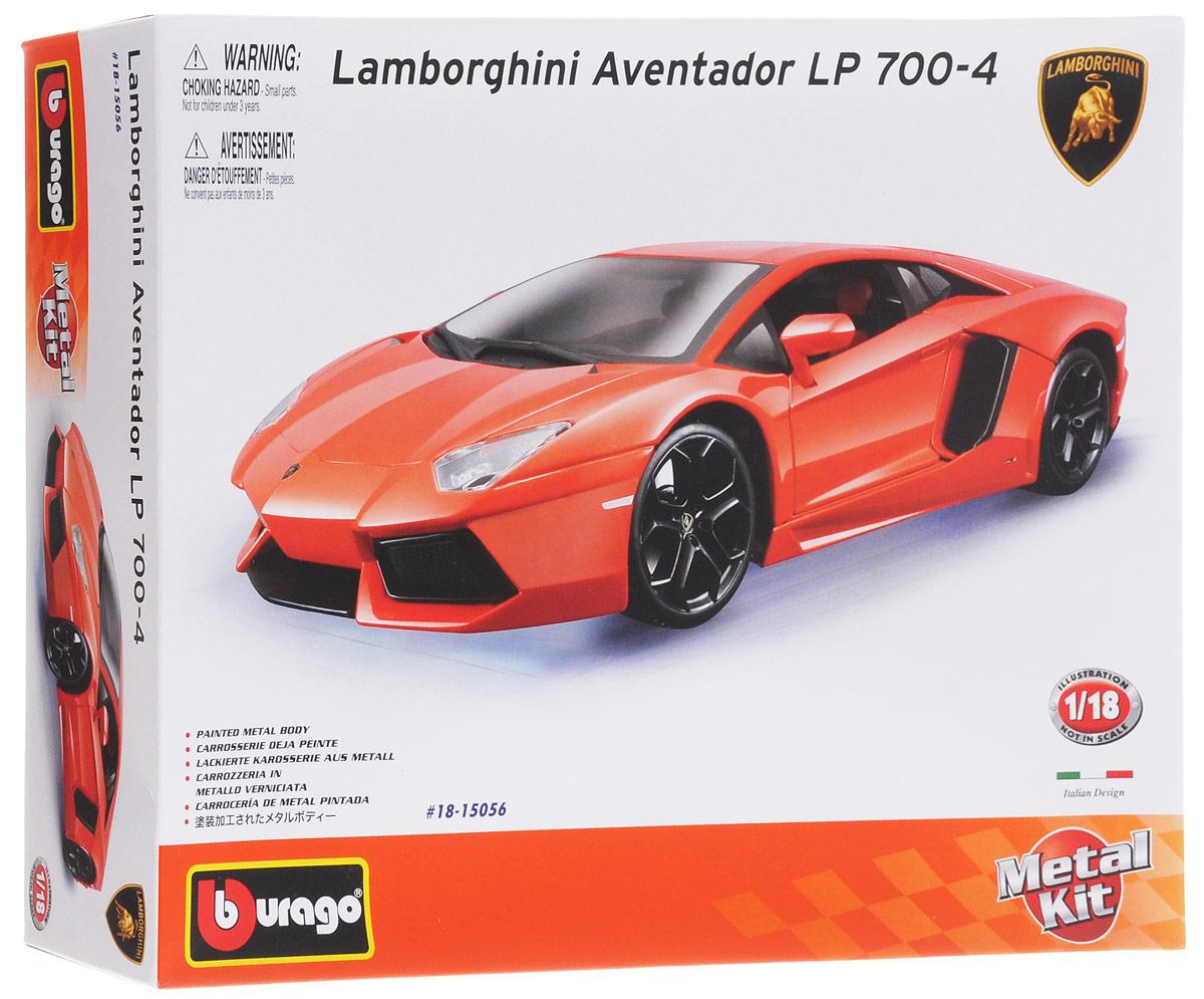 Bburago Сборная модель автомобиля Lamborghini Aventador LR 700-4 цвет оранжевый