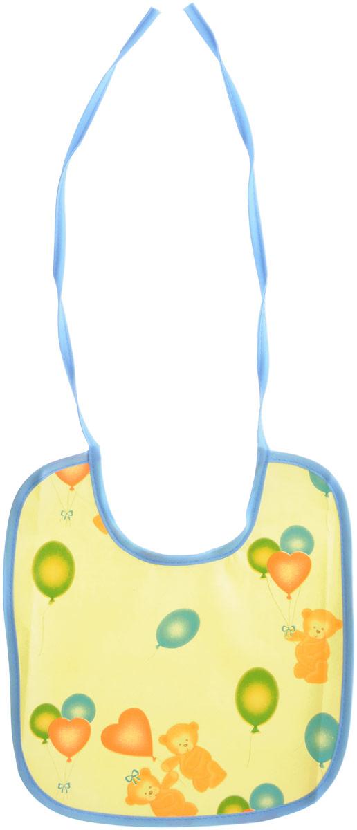 Колорит Нагрудник защитный Мишки с шариками цвет желтый голубой 20 см х 22 см