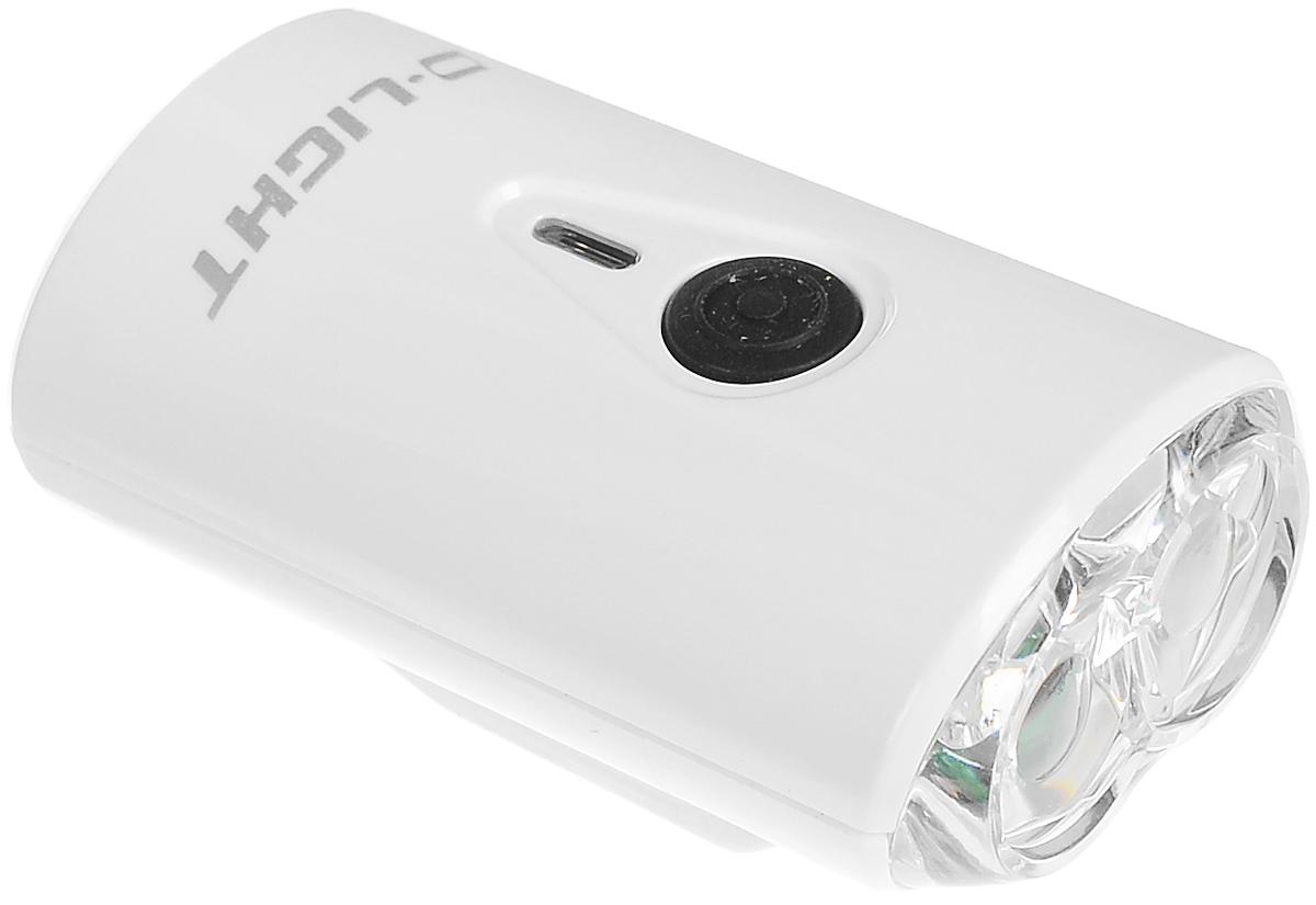Фонарь велосипедный D-Light CG-211W, передний, с зарядкой от USB, цвет: белый, черныйCG-211W-WhiteПередний велофонарь D-Light CG-211W предназначен для обеспечения большей безопасности при поездках в темное время суток. Он легко крепится и снимается без дополнительных инструментов. Корпус изделия выполнен из прочного алюминия. Фонарь имеет 4 режима: 3 вида яркости свечения и мигание. Изделие водонепроницаемое. Сверху на корпусе расположен индикатор заряда батареи. Можно прикрепить к велосипедному шлему. Фонарь питается от литий-ионного аккумулятора, заряжающегося от компьютера при помощи USB. Время супер яркого свечения: 1,5 часа. Время усиленного свечения: 3 часа. Время обычного свечения: 6 часов. Время мигания: 12 ч. Размер фонаря (без учета крепления): 5,3 х 2,8 х 1,7 см.
