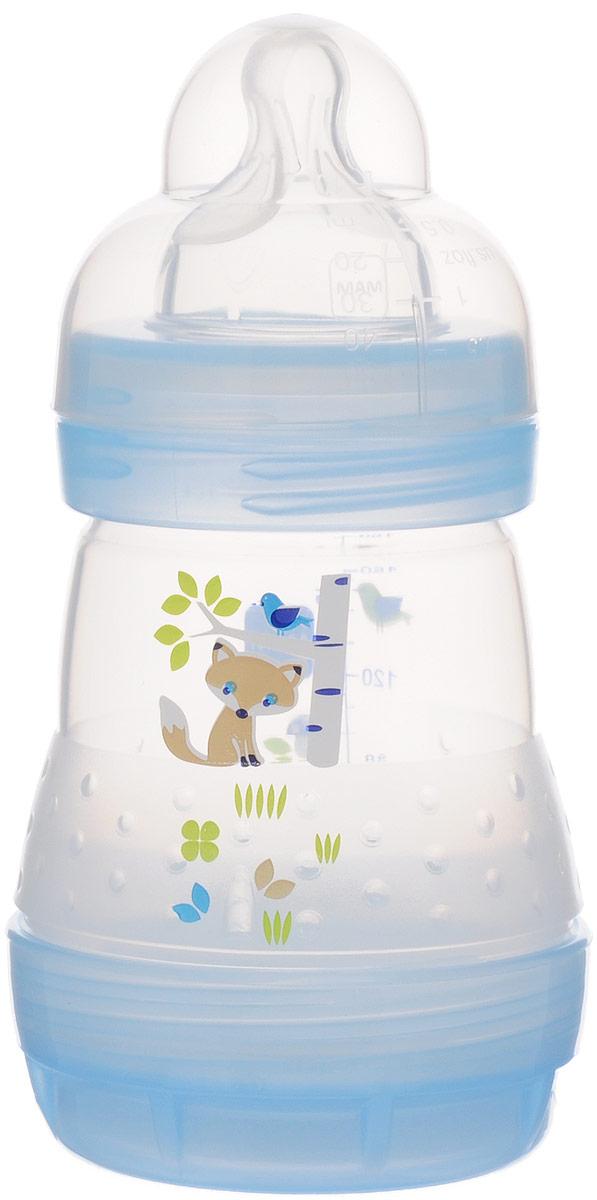 МАМ Бутылочка для кормления Anti-Colic цвет голубой 160 мл6245/4_голубойБутылочка для кормления МАМ Anti-Colic предназначена для малышей с рождения. Благодаря специальному отверстию на дне бутылочки жидкость подается равномерно - без пузырьков воздуха. Таким образом, исключая попадание воздуха в живот, это очень важно для спокойного животика малыша. Специалисты разработали ультрамягкую силиконовую соску, с которой переключение между мамой и бутылочкой происходит особенно легко. Потому что она осязается как шелковисто-мягкая и приятная, нет ничего лучше ее после мамы. Защитный колпачок водостойкий, может использоваться как мерный стаканчик. Бутылочку можно в любой момент простерилизовать в микроволновой печи - быстро и без дополнительного стерилизатора. Для этого достаточно налить чуть-чуть воды, поставить в микроволновую печь на 3 минуты. И все - бутылочка стерильно чиста! Не содержит бисфенол А.