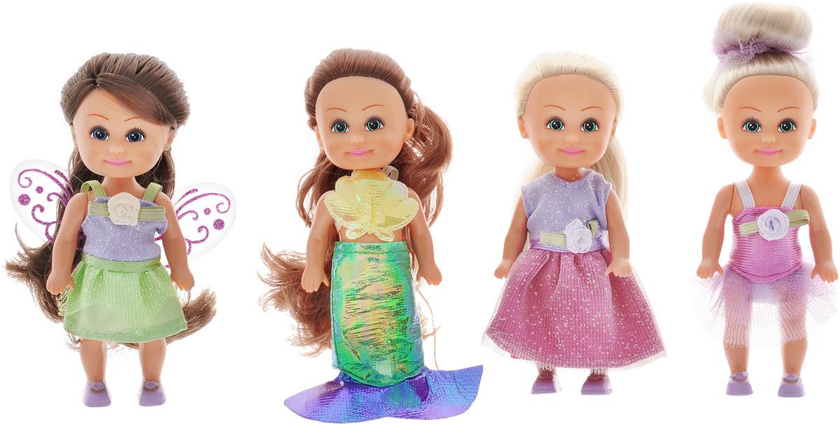 Funville Набор мини-кукол Маленькие друзья 4 шт24044Набор мини-кукол Funville Маленькие друзья представлен в виде четырех замечательных кукол с красивыми длинными волосами. Они облачены в яркие наряды, у них лучистые глазки и добрая улыбка. Волосы у куколок мягкие и длинные, их можно расчесывать и заплетать. Конечности кукол и головы подвижные. С таким набором куколок девочки смогут придумывать различные интересные сюжеты и истории.