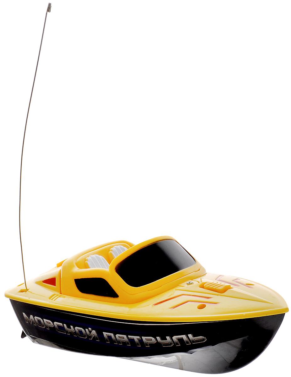 ABtoys Катер на радиоуправлении Морской патруль цвет желтыйC-00129Катер на радиоуправлении Морской патруль поразит своей скоростью и маневренностью и доставит много приятных минут, которые вы сможете провести рядом с вашим юным любителем радиоуправляемых моделей. В комплекте с катером имеется удобный пульт в виде морского штурвала с четырьмя каналами управления. Катеру найдется место и в ванной, и во время отдыха на пляже. Обладая стремительными изгибами корпуса и полнофункциональным управлением, игрушка сможет покорить любые водоемы! Радиоуправляемые игрушки способствуют развитию координации движений, моторики и ловкости. Что может порадовать мальчика больше, чем новая, оригинальная и функциональная радиоуправляемая игрушка? Пожалуй, с этим видом игрушек трудно конкурировать. Они действительно удивительны и красивы, дарят ребенку ощущение радости, скорости и динамики. Для работы игрушки необходимы 3 батарейки типа АА напряжением 1,5V (не входят в комплект). Для работы пульта управления необходимы 2...