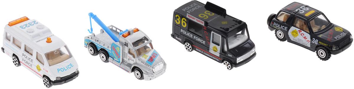 Pro-Engine Набор машинок Police Force 4 штPT2050_чёрный, серый,тёмносиний/белыйНабор машинок Pro-Engine Police Force понравится любому мальчику. В набор входят два полицейских фургона, эвакуатор и патрульная машина. Игрушки изготовлены из металла с пластиковыми элементами и имеют высокую степень детализации. С таким набором малыш сможет устраивать масштабные полицейские погони за опасными преступниками.