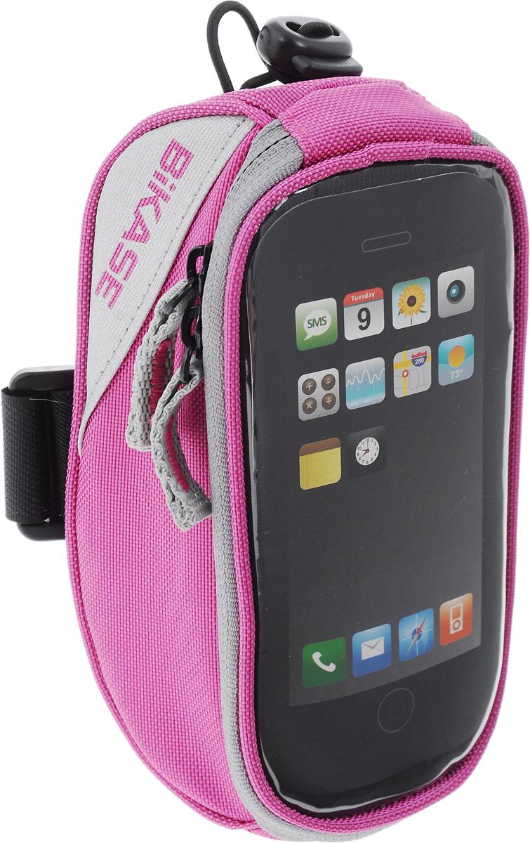 Сумка на верхнюю часть рамы BiKase Beetle, с чехлом для смартфона, цвет: розовый, серый, 17 х 9 х 7 смPN1029Многофункциональная сумка BiKase Beetle выполнена из высококачественных материалов и снабжена отсеком для смартфона с прозрачным окошком. Устанавливается на руль или раму велосипеда при помощи крепежного ремня на липучке, также предусмотрен дополнительный эластичный шнур со стоппером. Сумка закрывается на застежку-молнию двумя бегунками. Имеются 2 светоотражающие вставки. Изделие подходит для iPhone 6/6S Plus и для других смартфонов.