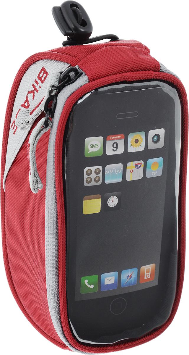 Сумка на верхнюю часть рамы BiKase Beetle, с чехлом для смартфона, цвет: красный, серый, 17 х 9 х 7 смPN1027Многофункциональная сумка BiKase Beetle выполнена из высококачественных материалов и снабжена отсеком для смартфона с прозрачным окошком. Устанавливается на руль или раму велосипеда при помощи крепежного ремня на липучке, также предусмотрен дополнительный эластичный шнур со стоппером. Сумка закрывается на застежку-молнию двумя бегунками. Имеются 2 светоотражающие вставки. Изделие подходит для iPhone 6/6S Plus и для других смартфонов.