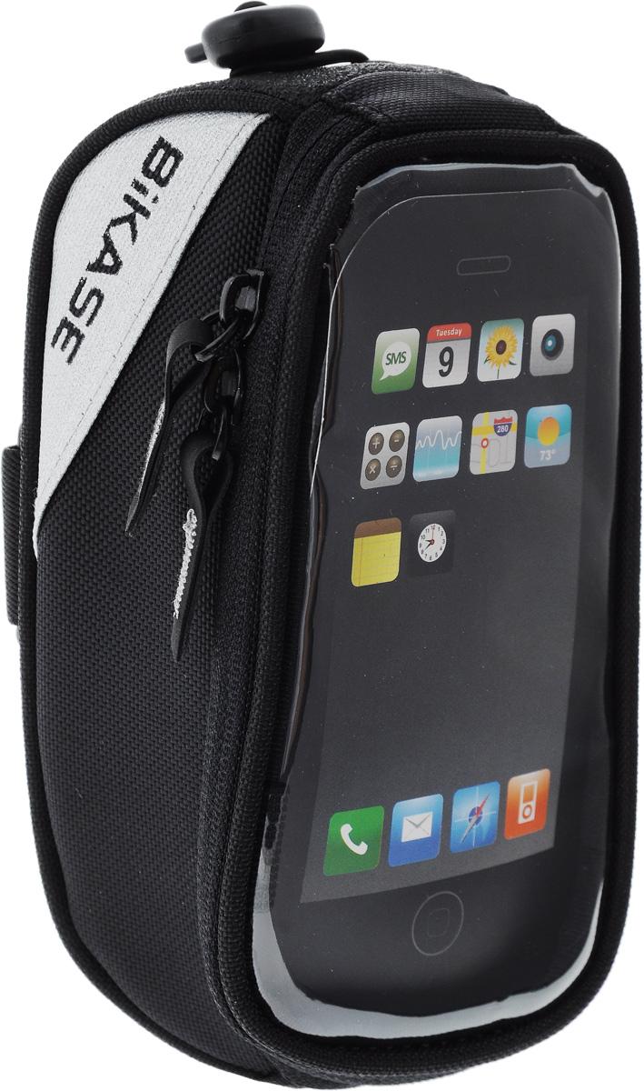 Сумка на верхнюю часть рамы BiKase Beetle, с чехлом для смартфона, цвет: черный, 17 х 9 х 7 смPN1026Многофункциональная сумка BiKase Beetle выполнена из высококачественных материалов и снабжена отсеком для смартфона. Устанавливается на руль или раму велосипеда при помощи съемного крепежного ремня, также для надежного крепления дополнительным шнуром. Сумка закрывается на застежку-молнию двумя бегунками и оснащена прозрачной вставкой. Имеются 2 светоотражающие вставки. Изделие подходит для iPhone 6/6S Plus и для других смартфонов.