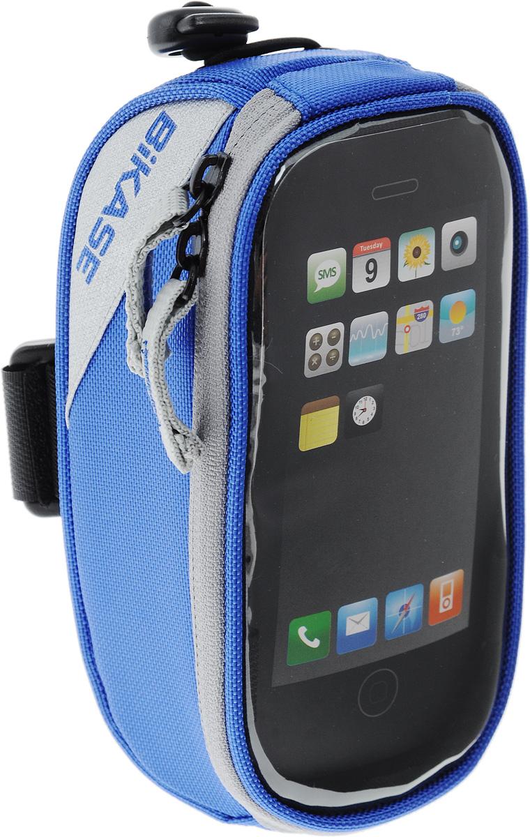 Сумка на верхнюю часть рамы BiKase Beetle, с чехлом для смартфона, цвет: синий, серый, 17 х 9 х 7 смPN1028Многофункциональная сумка BiKase Beetle выполнена из высококачественных материалов и снабжена отсеком для смартфона с прозрачным окошком. Устанавливается на руль или раму велосипеда при помощи крепежного ремня на липучке, также предусмотрен дополнительный эластичный шнур со стоппером. Сумка закрывается на застежку-молнию двумя бегунками. Имеются 2 светоотражающие вставки. Изделие подходит для iPhone 6/6S Plus и для других смартфонов.