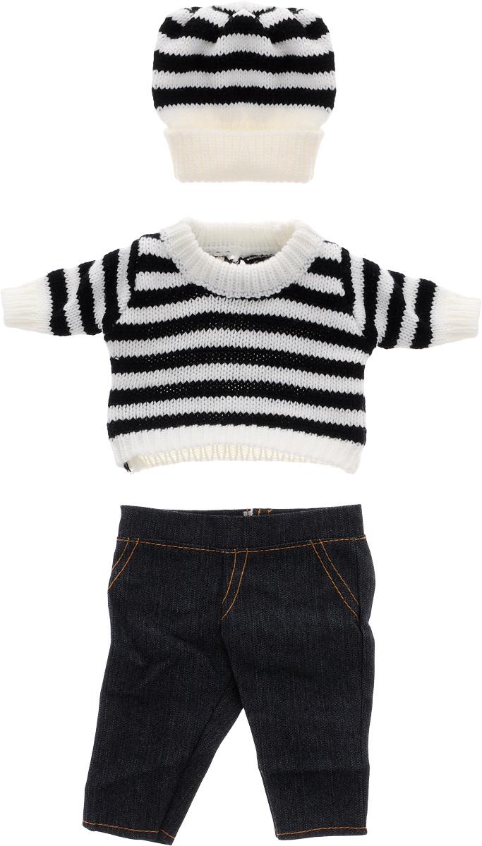Junfa Toys Шапочка кофточка и штаны для кукол Baby LoveBLC12Одеваться стильно для кукол также важно, как и для людей. В набор одежды для кукол Baby Love входят джинсы, кофта в черно-белую полоску и такая же шапочка. Штаны застегиваются на липучку. Дополнительные комплекты одежды значительно расширяют набор ситуаций, которые можно разыграть с куклами, а чем больше возможностей - тем лучше игры развивают воображение.