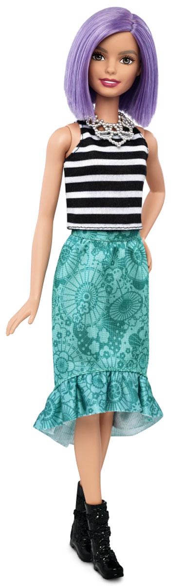 Barbie Кукла Fashionistas цвет наряда черный белый зеленыйDGY54_DGY59Кукла Barbie Fashionistas порадует вашу малышку и доставит ей много удовольствия от часов, посвященных игре с ней. Очаровательная кукла с фиолетовыми волосами одета в черно-белую майку и зеленую юбку, на ногах куколки - модные черные сапожки. Образ куклы дополняет ожерелье. Куклы Barbie Fashionistas - это множество образов и море удовольствия! Станьте модельером и подбирайте новые дизайнерские решения! У кукол различный цвет волос, глаз и кожи, разные прически, разная форма лица. Им подходит любой стиль: спортивные маечки и современная высокая мода, популярные платья в горошек и блузки с принтами, богемный шик и рокерские наряды, босоножки на каблуках, балетки, кроссовки, милые ботиночки. Барби любят украшения: бусы, очки, сережки. Они могут носить челки и проборы, кудряшки и прямые волнистые волосы, быть брюнетками, блондинками и рыжими, краситься в абсолютно черный и в современный пурпурный цвет. Соберите их всех!