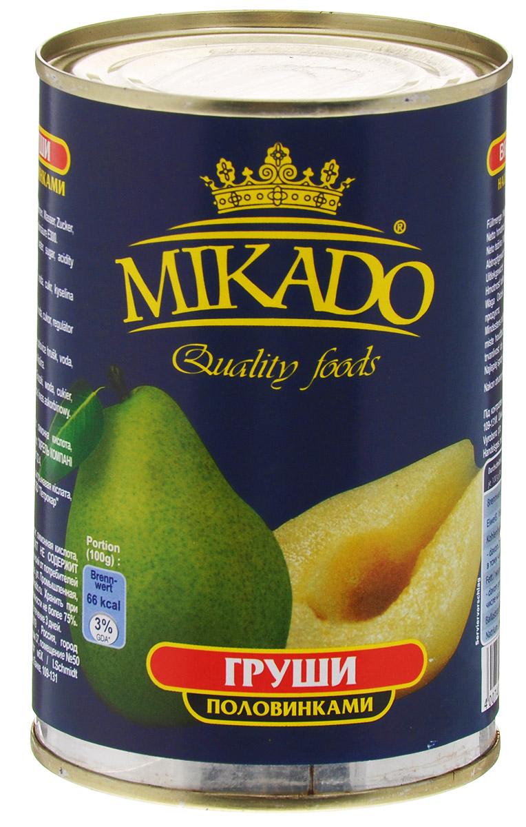 Mikado груши половинками в сиропе, 425 мл4007415010118Груши Mikado - это половинки сладкого фрукта в нежном сиропе, которые, несомненно, придутся по вкусу всей семье.