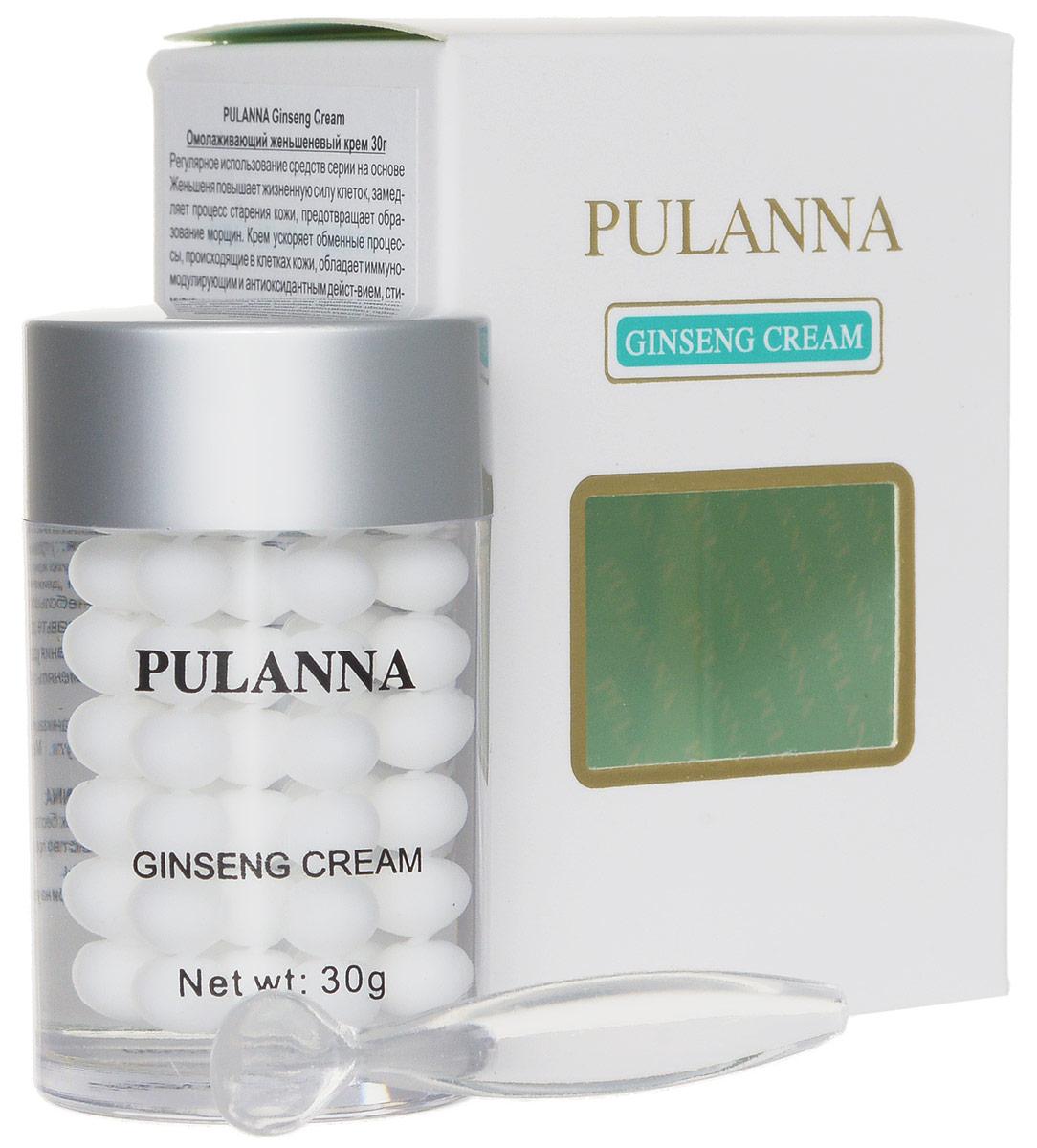 Pulanna Омолаживающий женьшеневый крем на основе женьшеня - Ginseng Cream 30 г5902596005085Крем ускоряет обменные процессы, происходящие в клетках кожи, обладает иммуномодулирующим и антиоксидантным действием, стимулирует процессы клеточного метаболизма, оказывает бактерицидное действие, выравнивает кожный рельеф. Питает, увлажняет, тонизирует. Усиливает сопротивляемость кожи к неблагоприятному воздействию окружающей среды, стимулирует регенерацию кожи, снабжает питательными и увлажняющими элементами. При регулярном использовнии улучшается цвет лица, сглаживаются морщинки, мимические линии и заломы. Универсальное средство: подходит для области век, лица и шеи! Для всех типов кожи с 40 - 45 лет.