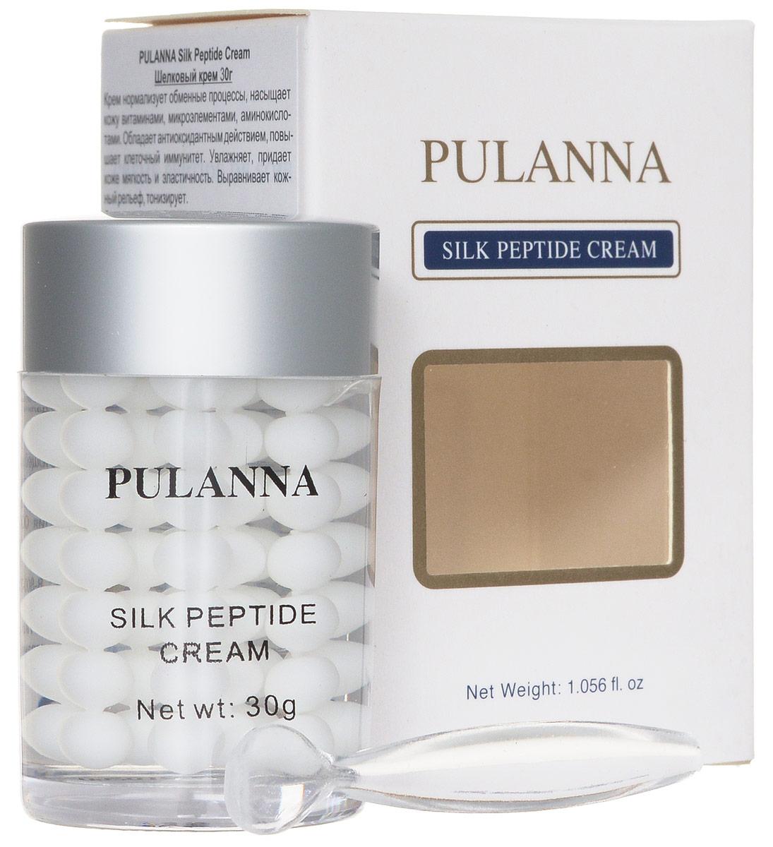 Pulanna Шелковый крем на основе пептидов шелка - Silk Peptide Cream 30 г5902596005207Крем нормализует обменные процессы, насыщает кожу витаминами, микроэлементами, аминокислотами. Обладает антиоксидантным действием, повышает клеточный иммунитет. Увлажняет, придает мягкость и эластичность. Выравнивает кожный рельеф (морщины и линии), тонизирует. Пептиды шелка за счет своей низкомолекулярной структуры обладают высокой проницаемостью и запускают ряд биохимических реакций, направленных на восстановление клеток кожи. Пептиды шелка богаты аминокислотами и олигопептидами, необходимыми для обменных процессов. В результате улучшаются микроциркуляция, лимфоток, структура кожи, а также разглаживаются морщины и восстанавливается здоровый цвет лица. Аминокислоты мгновенно заполняют все повреждения и неровности на коже, возвращая ей гладкость и мягкость. Являются отличными резервуарами влаги и компенсируют обезвоженность кожи. Пептиды шелка один из немногих компонентов, на который практически не бывает аллергических реакций, что делает их незаменимым компонентом для людей с...