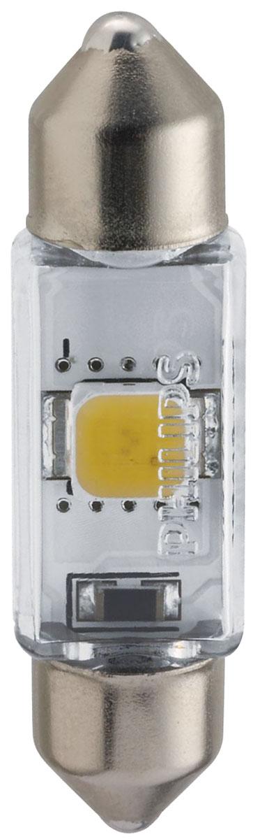Лампа автомобильная светодиодная сигнальная Philips X-tremeVision LED, цоколь C5W Fest T10,5 (SV8,5-35/11), 4000К, 12V, 1W12858 4000KX1Высокомощные светодиодные лампы Philips X-tremeVision LED, излучающие дневной свет с цветовой температурой 6000К, обеспечивают улучшенное освещение интерьера. Долговечные и высокопрочные светодиоды будут служить вам 12 лет, избавляя от лишних хлопот. Особенности ламп: Широкий угол и равномерное распределение света для оптимального освещения салона автомобиля. Светодиодные лампы оснащены уникальной конструкцией, устойчивой к вибрациям и воздействию высоких температур до 105°. Мощные светодиодные лампы создают эффект дневного света для стильного освещения. Высокомощные светодиоды нового поколения будут работать в течение всего срока службы автомобиля. Автомобильные лампы Philips удовлетворят все нужды автомобилистов: дальний свет, ближний свет, передние противотуманные фары, передние и боковые указатели поворота, задние указатели поворота, стоп-сигналы, фонари заднего хода, задние противотуманные фонари, освещение номерного знака, задние...