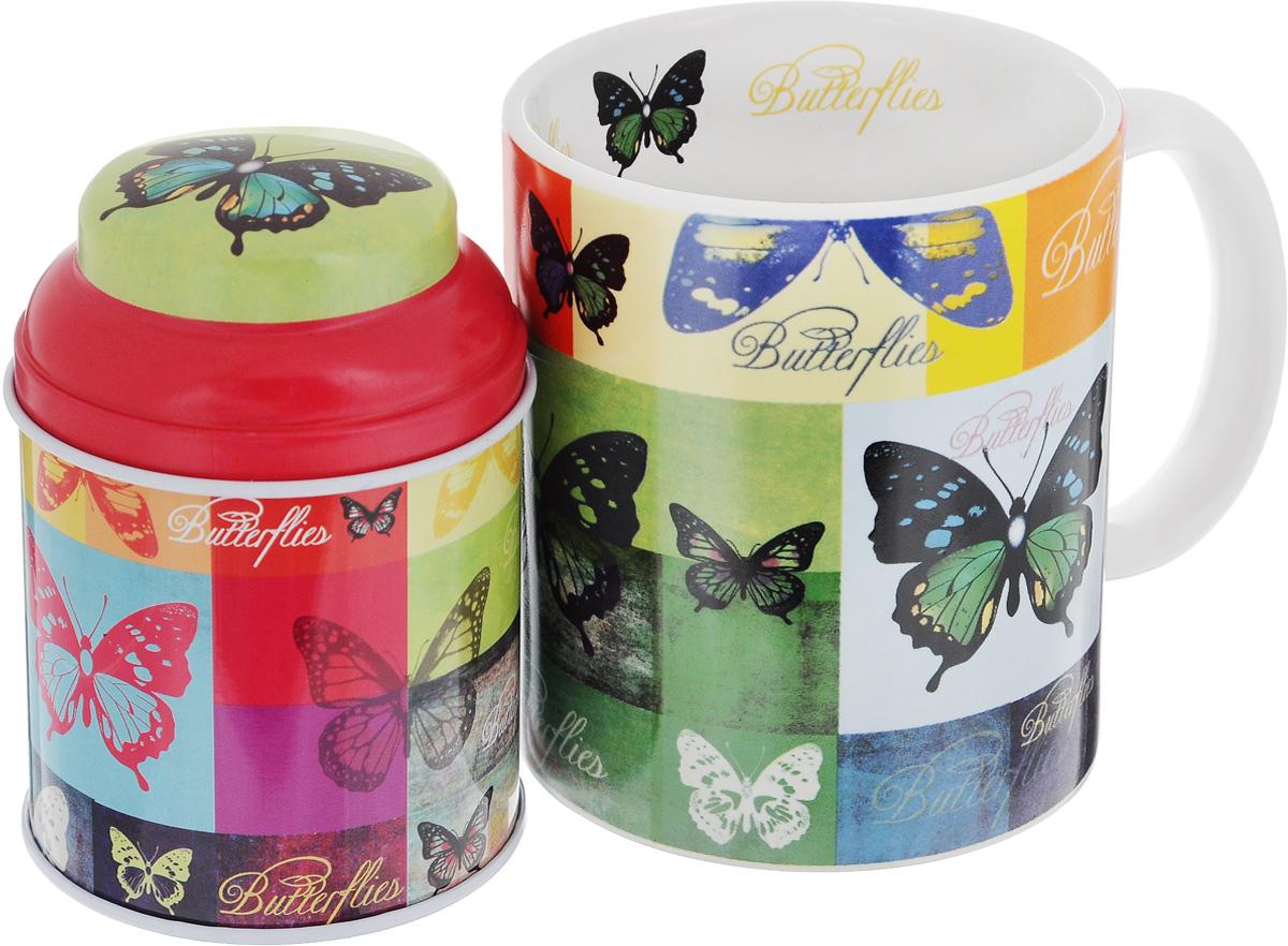 Набор подарочный Феникс-Презент Радужные бабочки, 2 предмета41164Подарочный набор Феникс-Презент Радужные бабочки включает в себя керамическую кружку и металлическую банку. Предметы оформлены оригинальным рисунком. В банке можно хранить чай, кофе или приправы. Такой набор будет отличной находкой для себя или подарком для друга. Объем кружки: 300 мл. Диаметр кружки: 8 см. Высота кружки: 9,5 см. Размер банки (с учетом крышки): 6,8 х 6,8 х 9,5 см. Объем банки: 250 мл.
