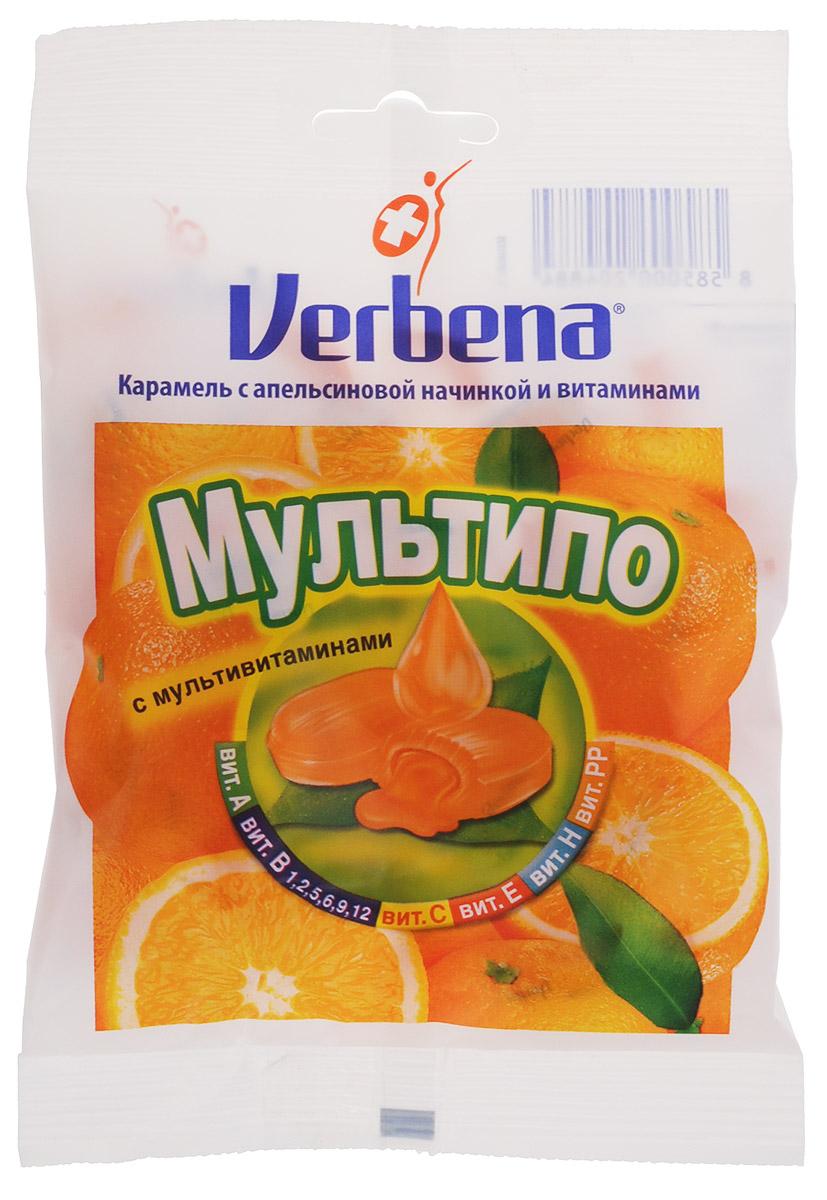 Verbena Мультипо карамель с апельсиновой начинкой, 60 гнво002Карамель Verbena Мультипо с начинкой из натуральных экстрактов лечебных растений имеют повышенное содержание витамина С (200 мг на 100 г). Всего 6 леденцов Verbena обеспечит более половины суточной потребности витамина С!