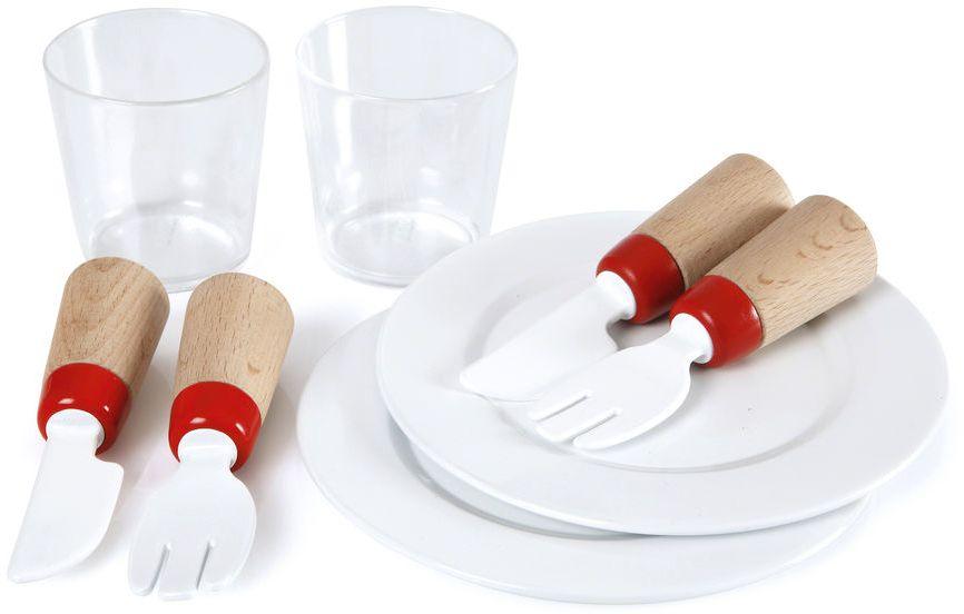 Brio Набор посуды30223Данный набор, рассчитанный на двоих, позволит ребенку разыграть различные сценки, связанные с приемом пищи: семейные обеды, чаепития, посиделки в кафе, ресторанах или поход в магазин. Ручки вилок и ножей выполнены из дерева, а остальная посудка - из пластмассы. Стаканчики можно использовать во время рисования, а на тарелочках можно складывать различные мелочи
