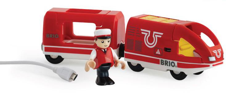 Brio Железная дорога с пассажирским поездом33746BRIO пассажир.поезд,движ.вперед-назад с USB подзарядкой,1 фиг.,18х4х5см,кор.