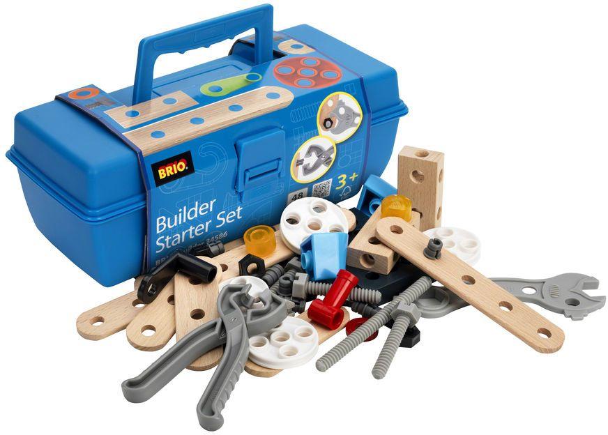 Brio Конструктор в чемоданчике34586Стартовый набор деревянного конструктора BRIO Builder - Starter Set включает в себя деревянные детали с отверстиями для их соединения, пластиковые шурупы, болты, шпильки, гайки, а также базовый инструмент (48 деталей). Набор конструктора упакован в удобный пластиковый кейс с ручкой. \r\nПодробнее: https://toyburg.ru/brio-konstruktor-v-plastikovom-chemodane-34586/?utm_source=share