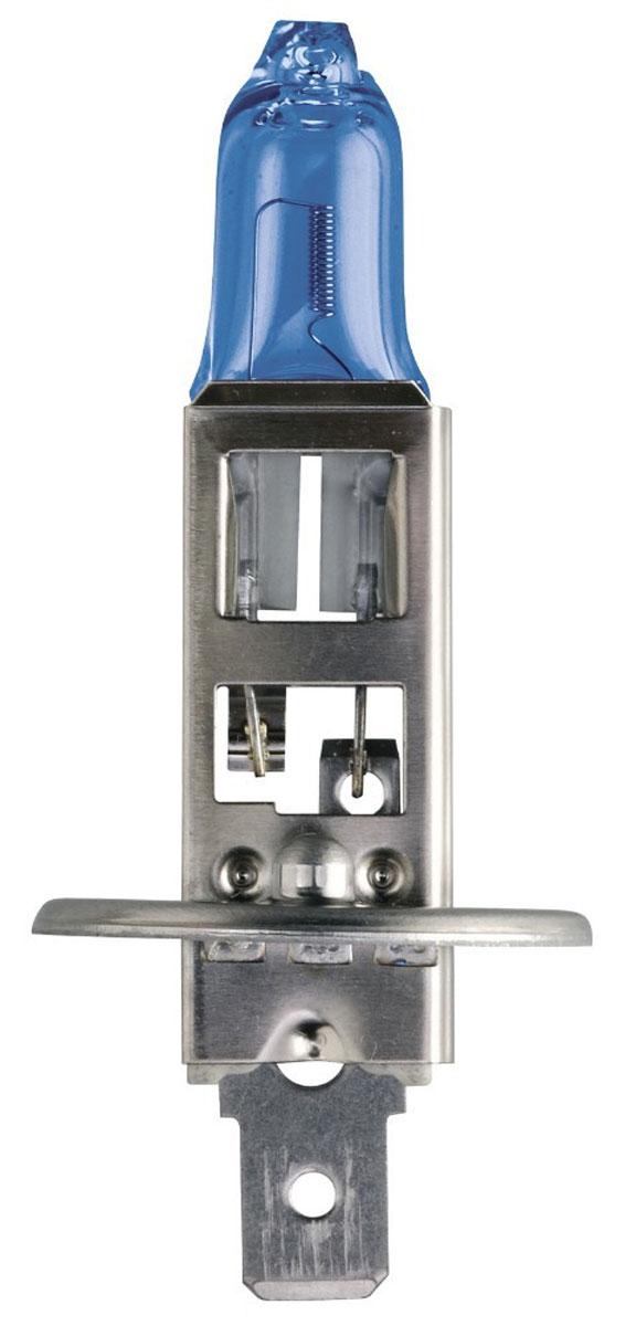 Лампа автомобильная галогенная Philips DiamondVision, для фар, цоколь H1 (P14,5s), 12V, 55W12258DVB1 (бл.)Автомобильная галогенная лампа Philips DiamondVision произведена из запатентованного кварцевого стекла с УФ фильтром Philips Quartz Glass. Кварцевое стекло Philips в отличие от обычного твердого стекла выдерживает гораздо большее давление смеси газов внутри колбы, что препятствует быстрому испарению вольфрама с нити накаливания. Кварцевое стекло выдерживает большой перепад температур, при попадании влаги на работающую лампу изделие не взрывается и продолжает работать. Лампа DiamondVision с чистым белым светом, цветовой температурой 5000 K и стильным эффектом холодного белого ксенонового света идеально подходит для водителей, которые хотят придать индивидуальный стиль своему автомобилю. Автомобильные галогенные лампы Philips удовлетворят все нужды автомобилистов: дальний свет, ближний свет, передние противотуманные фары, передние и боковые указатели поворота, задние указатели поворота, стоп-сигналы, фонари заднего хода, задние противотуманные фонари, освещение...