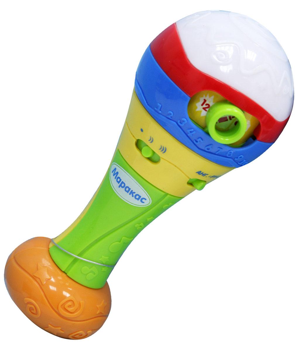 Veld Музыкальная игрушка МаракасJ905-H05005Играй и обучайся с красочным маракасом! С помощью игрушки ребенок сможет выучить цифры, цвета и послушать зажигательные мелодии. Маракас имеет 3 режима игры: изучение цветов, изучение счета от 1 до 10 и музыкальный режим, переключатели уровня громкости и языка обучения (английский и русский). Маракас нужно встряхнуть для того, чтобы поменялась информация в зависимости от выбранного режима работы. Игрушка мигает и светится разными цветами.