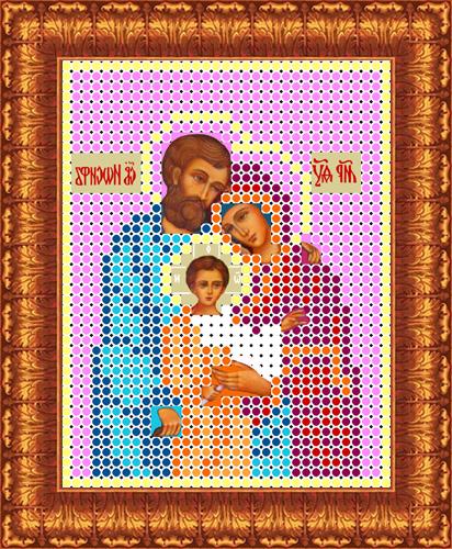 Ткань схема для вышивки бисером или крестом Каролинка Святое семейство, 7х9 см. кби 6006/ф/кби 6006-ф-Рисунок схема для вышивки бисером и крестом на габардине,дублированном флизилином.На основе для вышивки предлагается вышивать тремя техниками /бисером,крестом,смешанной/.Дана раскладка в граммах и номерах бисера Чехия,метрах и номерах мулине Гамма.