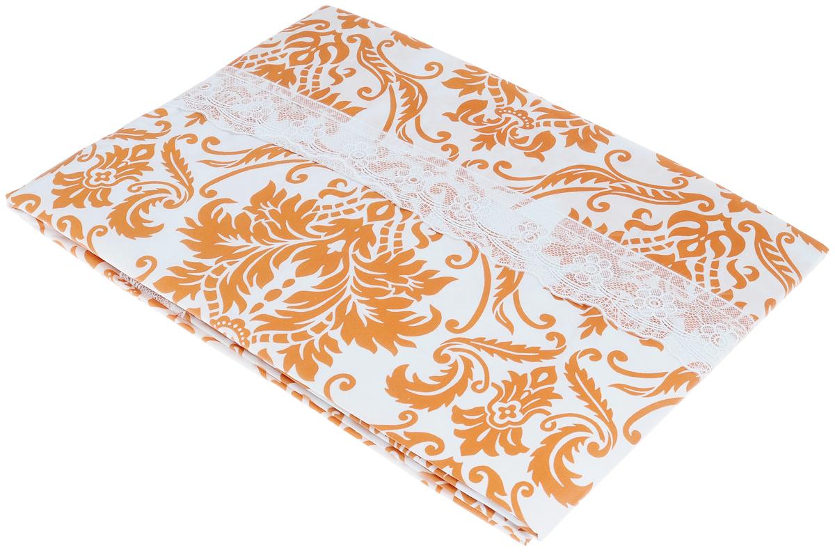 Скатерть виниловая Home Queen, прямоугольная, цвет: белый, оранжевый, 107 x 152 см51537_белый, оранжевыйСкатерть Home Queen изящно украсит праздничный стол. Изделие, выполненное из 100% винила на нетканой основе, украшено оригинальным принтом. Края скатерти оформлены кружевом. Нетканая основа имеет противоскользящие покрытие. Скатерть водонепроницаема и проста в повседневном использовании. Скатерть Home Queen создаст праздничное настроение и станет прекрасным дополнением интерьера гостиной, кухни или столовой.