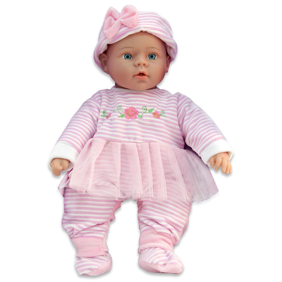 Lisa Jane Пупс озвученный в розовом костюмчикеUT-J1643AКукла интерактивная: говорит (более 50 фраз), рассказывает 2 стихотворения, поет песенку про маму. Любимая колыбельная мелодия. Нажми на ручку! Для куклы требуются 3 батарейки типа АА, в состав набора не входят.