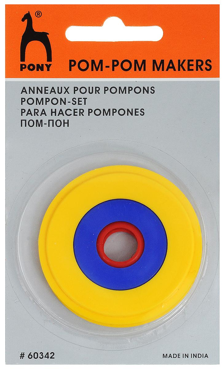 Устройство для изготовления помпонов Pony, разъемное, цвет: желтый, 3 размера60342Устройство для изготовления помпонов Pony - интересный аксессуар для любительниц рукоделия, который упростит процесс изготовления помпонов. В наборе 3 пары колец разного диаметра. Размер кольца зависит от размера помпона, который вы хотите получить. Помпон будет равен диаметру кольца. Диаметр колец: 3,5 см; 5 см; 7,5 см.