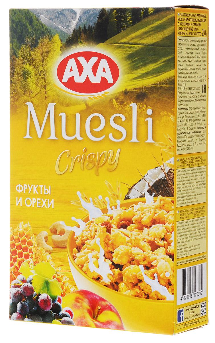 АХА мюсли хрустящие в меду с фруктами и орехами, 250 гбйт020Мюсли АХА - залог красоты и удачного дня! Все, что вы любите! Полезные злаки, любимые фрукты, мед и натуральные орехи для вкусного завтрака. АХА - максимум удовольствия и пользы каждый день!