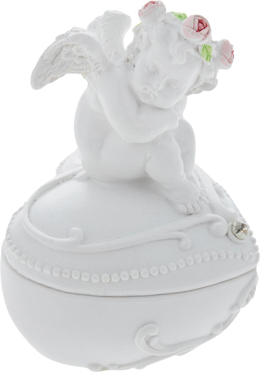 Шкатулка декоративная Феникс-презент Сердце, 6,8 х 6,2 х 8,6 см40165Шкатулка Феникс-презент Сердце изготовлена из полирезина. Крышка шкатулки оформлена очаровательной фигуркой ангела. Шкатулка станет отличным подарком вашим друзьям и близким.
