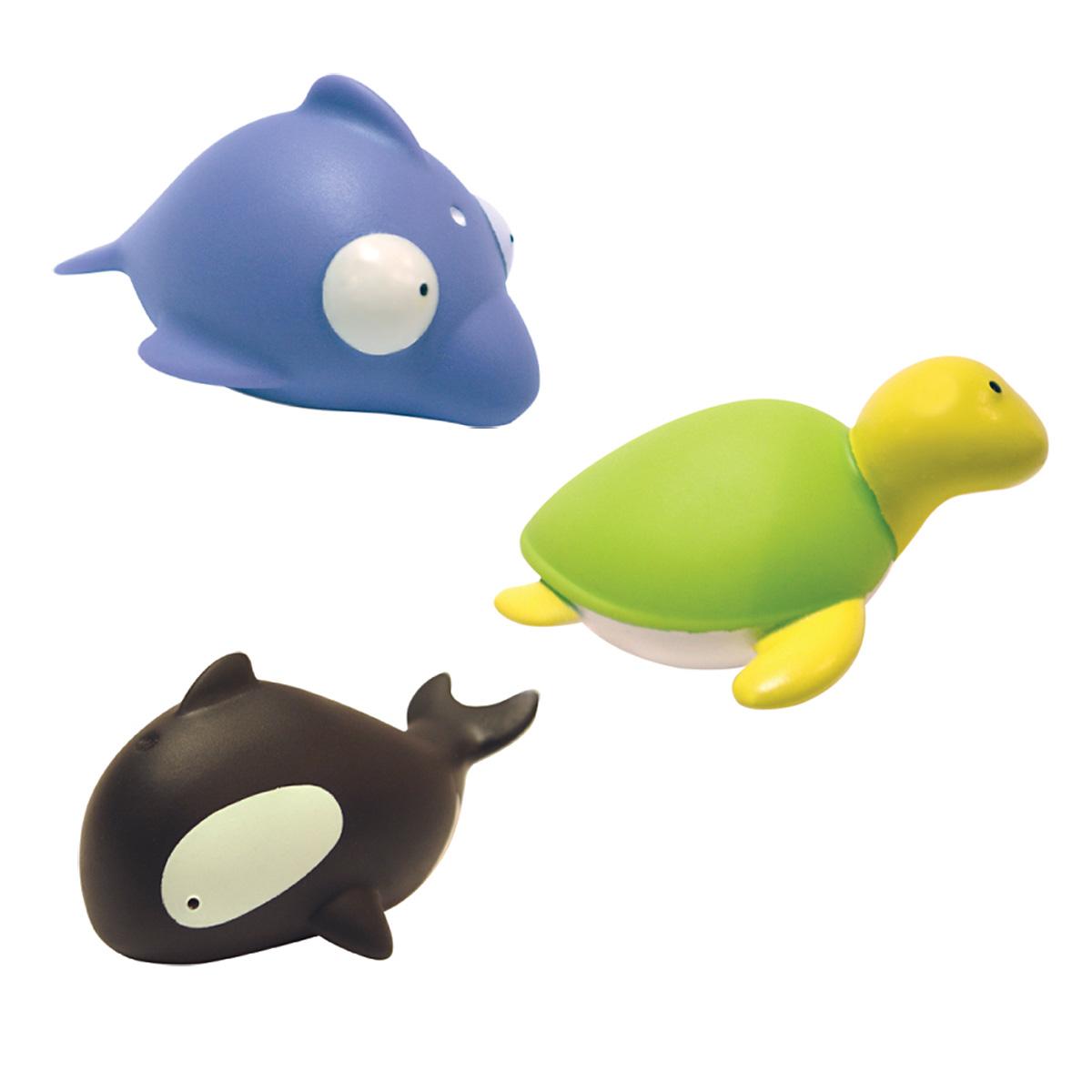 Mara Baby Набор игрушек для ванной Жители моря 3 шт24001С набором игрушек для ванной Mara Baby Жители моря принимать водные процедуры станет еще веселее и приятнее. В набор входят три игрушки - дельфин, черепаха и касатка. Игрушки могут брызгать водой. Набор доставит ребенку большое удовольствие и поможет преодолеть страх перед купанием. Игрушки для ванной способствуют развитию воображения, цветового восприятия, тактильных ощущений и мелкой моторики рук.