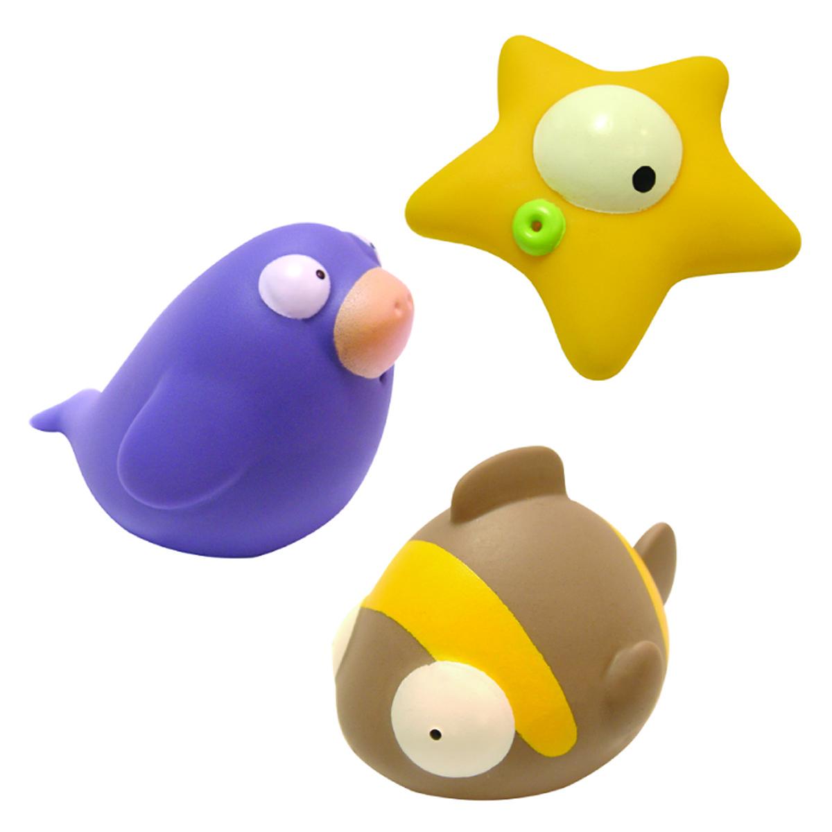 Mara Baby Набор игрушек для ванной Жители океана 3 шт24002С набором игрушек для ванной Mara Baby Жители океана принимать водные процедуры станет еще веселее и приятнее. В набор входят три игрушки - рыба, звезда и тюлень. Игрушки могут брызгать водой. Набор доставит ребенку большое удовольствие и поможет преодолеть страх перед купанием. Игрушки для ванной способствуют развитию воображения, цветового восприятия, тактильных ощущений и мелкой моторики рук.