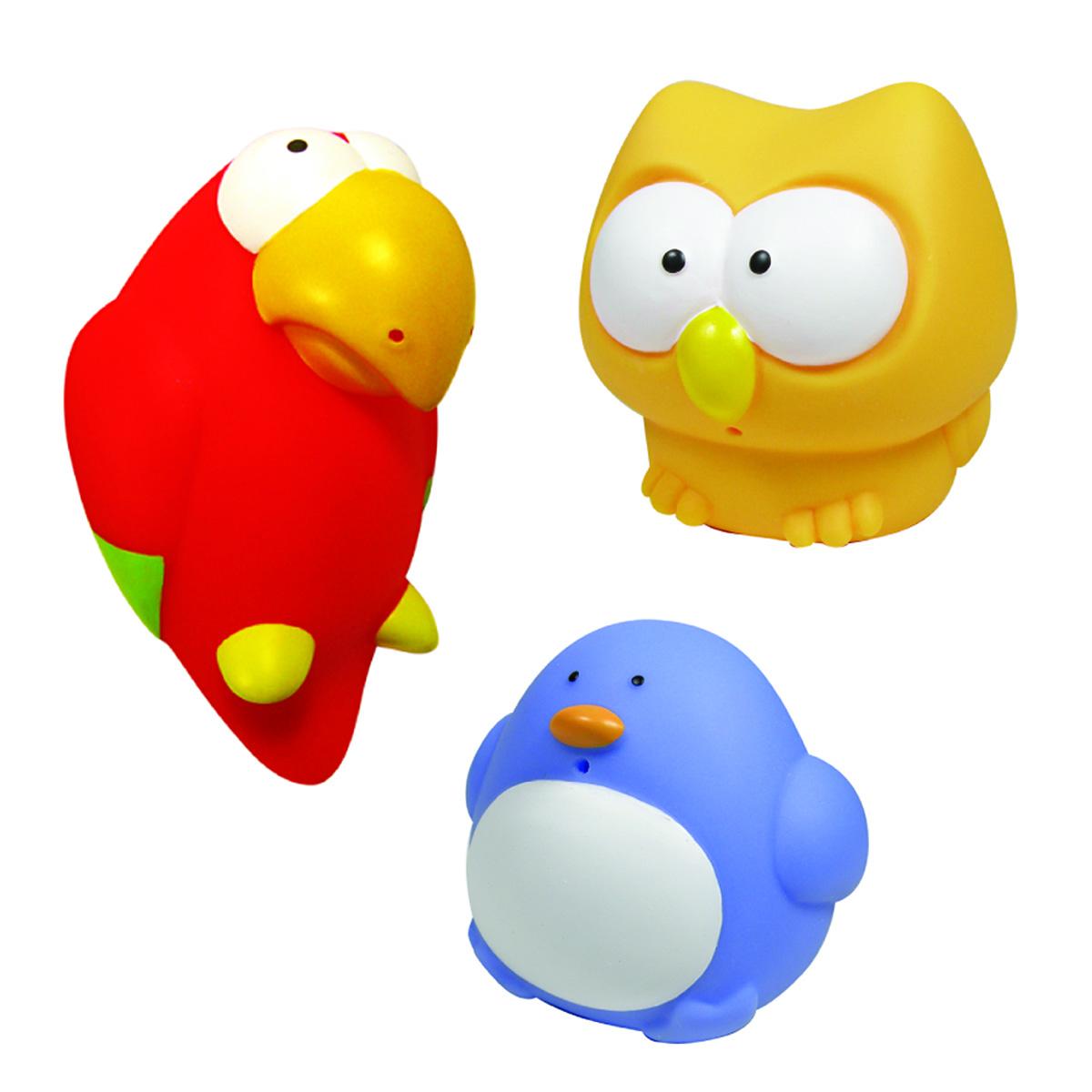 Mara Baby Набор игрушек для ванной Веселые птички 3 шт24009С набором игрушек для ванной Mara Baby Веселые птички принимать водные процедуры станет еще веселее и приятнее. В набор входят три игрушки - пингвин, сова и попугай. Игрушки могут брызгать водой. Набор доставит ребенку большое удовольствие и поможет преодолеть страх перед купанием. Игрушки для ванной способствуют развитию воображения, цветового восприятия, тактильных ощущений и мелкой моторики рук.